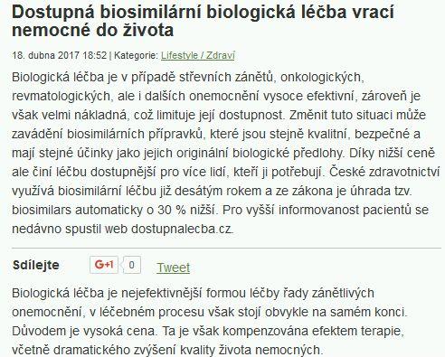 Dostupná biosimilární biologická léčba vrací nemocné do života